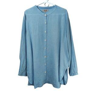 Flax 100% Linen Button Down Top Sz Large